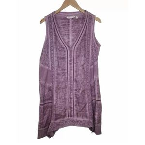 Soft Surroundings Ocean Fade Tank Shirt Tunic Top Crochet Purple Size L